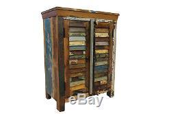 Reclaimed Sideboard Cupboard In Vintage Wood Louvered Door Bathroom Cabinet