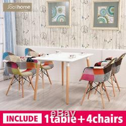 Rectangle Dining Table And 4 Armchairs Patchwork Fabric Chair Set Study MDF Tub