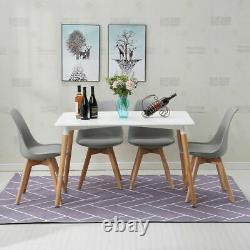 Rectangle Dining Table And Chairs Wood Legs Padded Tulip Set Kitchen Lounge Cafe