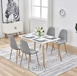 Rectangle Dining Table and 4x Linen Fabric Chairs Metal Wooden Legs Living Room