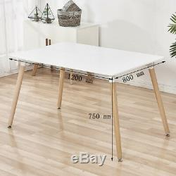 Rectangle Dining Table and 4x Plastic Chairs Metal Wooden Legs Living Room Sets