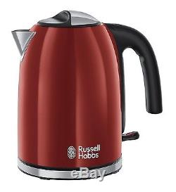 Red Russell Hobbs Microwave Kettle Toaster Set + Tea, Coffee and Sugar Canisters