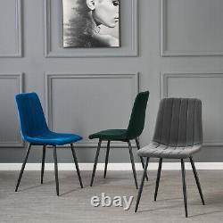 Retro 2 4 6 Dining Chairs Soft Velvet Padded Seat Black Metal Legs Kitchen Room