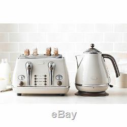 Retro DeLonghi Icona Cream Kettle & 4 Slice Toaster Kitchen Appliance Bundle Set