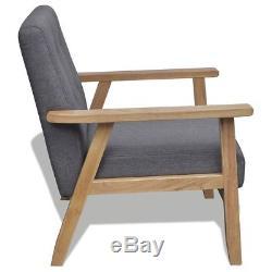Retro Fabric Armchair Modern Grey Chair Retro Room Wooden Scandi Lounge Seater