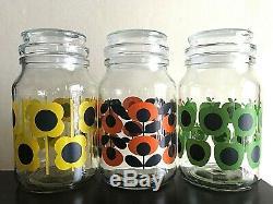 Retro Orla Kiely 3 x Limited Edition Glass Douwe Egberts Coffee Storage Jars