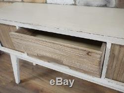 Retro Scandinavian Style Distressed Paint & Wood Sideboard Cabinet