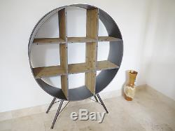 Retro Style Industrial Metal And Vintage Wood Shelving Display Cabinet/Bookcase