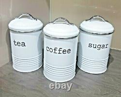 Retro Tea Coffee Sugar Kitchen Storage Canisters Jars Pots Tin Set Air Tight Lid
