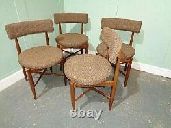 Retro Teak G Plan Kofod Larsen Set Of 4 Chairs Vintage E Gomme Chairs