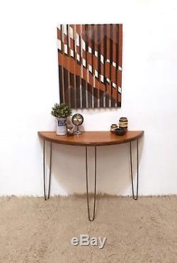 Retro Upcycled Demi lune hairpin legs console table G Plan