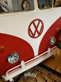 Retro Vintage 1960s inspired VW Camper Van Home Bar Working Lights Red