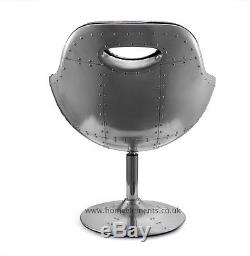 Retro Vintage Aviation Swivel Egg Chair Bonded Leather Kitchen/Dining/Office