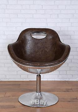 Retro Vintage Aviation Swivel Egg Chair Bonded Leather Kitchen/Dinning/Office