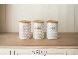 Retro Vintage Diamonds Ceramic Tea Coffee Sugar Storage Jar Canisters Containers