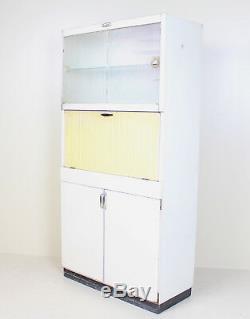 Retro Vintage Kitchen Cabinet Kitchenette Larder White Yellow