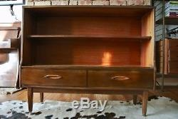 Retro Vintage Mid Century Glass Fronted Bookcase Shelving Unit