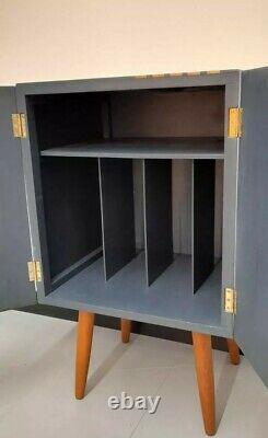 Retro Vintage Mid Century Vinyl Record Storage Cupboard Cabinet Unit