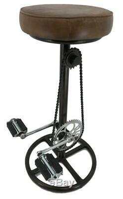 Retro Vintage Quirky Stool Bicycle Pedal Man Cave Kitchen Breakfast Bar Leather