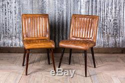 Retro Vintage Style Leather Kitchen Dining Cafe Chairs Epsom