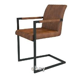 Retro Vintage Tan Leather Pair Dining Chairs Metal Cantilever Industrial Kitchen