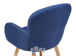 Retro Vintage Upholstered Chair Set Dining Room Kitchen Wooden Legs Blue Brookvi