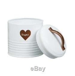 Retro Vintage White Enamel Tea Coffee Sugar Canisters Jars Set Copper Heart Jars