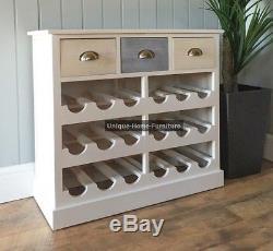 Retro Wine Cabinet Vintage Wooden Rack Bottle Storage Unit White Drinks Bar Hold