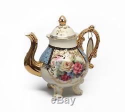 Royalty Porcelain 10pc BLUE Vintage Floral Dining Tea Cup SET for 6, 24K Gold