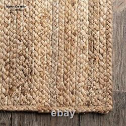 Rug Jute 100% Natural Jute Style Rug Reversible Braided Modern Rustic Look