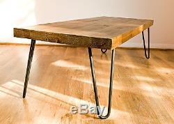 Rustic Vintage Industrial Solid Wood Coffee Table-Black Metal Hairpin Legs, Dark