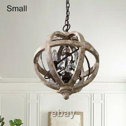 Rustic Weathered Wooden Globe 3-Light Chandelier with Crystal for Living Room