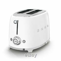 SMEG Retro White Kettle & 2 Slice Toaster KLF03WHUK & TSF01WHUK Brand New