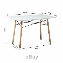 Scandinavian Retro Dining Table Modern Kitchen Table and 4 Dining Chairs White