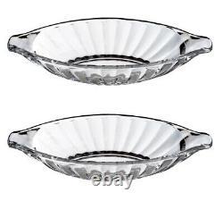 Set Of 2 Glass Banana Split Dishes Ice Cream Dessert Sundae Serving Bowl 24cm