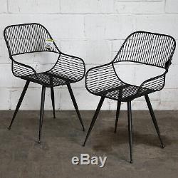 Set Of 2 Metal Chairs Vintage Rustic Retro Design Industrial Furniture Seating