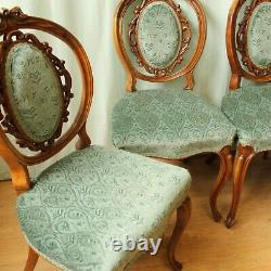 Set Of 4 French Style Upholstered Vintage Walnut Ornate Dining Chairs