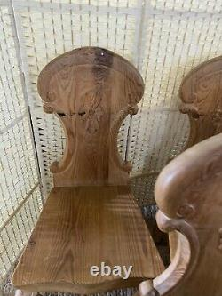 Set Of 6 Solid Pine French Style Vintage Dining Kitchen Chairs Carved Wood