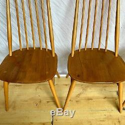 Set Of Four Vintage retro Ercol Goldsmith Blond 1960s 1970s Dining Chairs