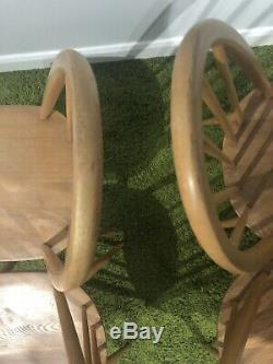 Set Of Four Vintage retro Ercol Quaker 365 Blond 1960s 1970s Dining Chairs