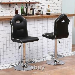 Set of 2 Bar Stools Breakfast Chairs Dining Chairs Height Adjustable Home Black