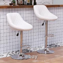 Set of 2 Bar Stools Breakfast Chairs Faux Leather Kitchen Breakfast Bar Pub Grey