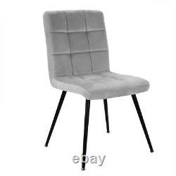 Set of 2 Dining Chairs Velvet Fabric Padded Seat Black Metal Leg Office Kitchen