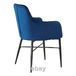 Set of 2 Luxury Dining Chairs Velvet Blue Padded Seat with Armrest Home Lounge