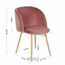 Set of 2 Retro Velvet Armchairs Dining Chairs Accent Chairs with Metal Legs