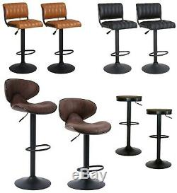 Set of 2 Vintage Swivel Bar Stools Chairs Matt Black Retro Brown Pub Kitchen Bar