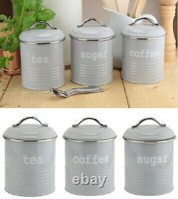 Set of 3 Airtight Round Tea Sugar and Coffee Kitchen Storage Canisters Jars Grey