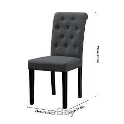 Set of 4 Dining Chairs Dark Grey Fabric Padded Seat Button Tufted Home Kitchen