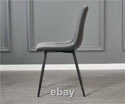 Set of 4 Dining Chairs Fabric Padded Seat Metal Leg Office Kitchen Lounge Chair
