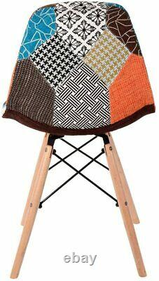 Set of 4 Fabric Dining Chairs Tulip Patchwork Wood Legs Home Kitchen Dining Room